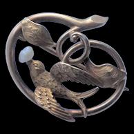 Art Nouveau 14K Gold Pin - Bird with Freshwater Pearl in Beak