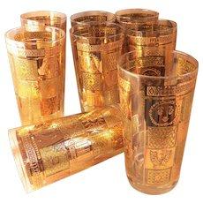 Set  Eight  GEORGES BRIARD  Highball Glasses - Celeste pattern - vintage barware mid-century