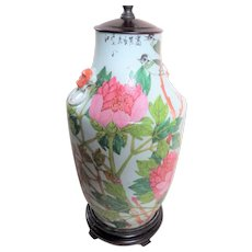 Old Chinese Export Porcelain Lamp - Flowers Birds Calligraphy