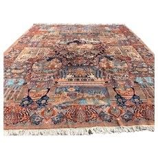 10x13 PERSIAN RUG HAND KNOTTED IRAN KASHMAR RUGS antique pictorial handmade 9x12 woven made oriental carpet area rug
