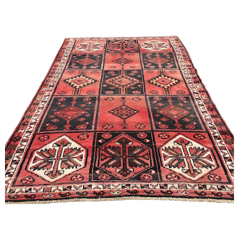 5x8 HAND KNOTTED IRAN RUG PERSIAN RUGS HANDMADE WOOL red coral black 5x7 6x8 oriental handwoven carpet caucasian