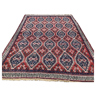 5x6 PERSIAN RUG HAND KNOTTED RED BLUE IRAN WOOL ANTIQUE area rugs woven made oriental carpet 4x6 5x5 red rust caucasian