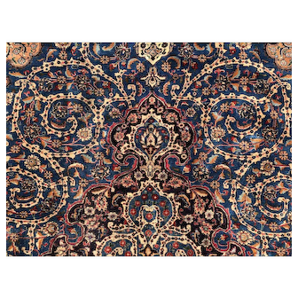 9x12 HAND KNOTTED BLUE PERSIAN RUG Iran wool rugs green gold qom antique isfahan oriental handmade woven made carpet 10x13 ft