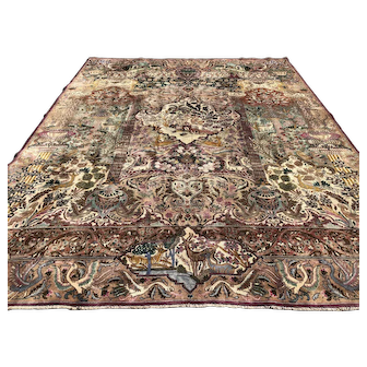 10x13 PERSIAN RUG HAND KNOTTED IRAN WOOL PICTORIAL ANTIQUE kashmar area rugs oriental woven made handmade carpet 9x12