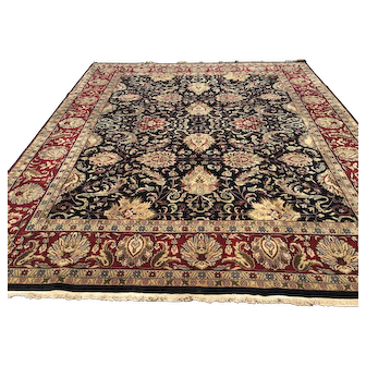 8x10 BLACK HAND KNOTTED RUG WOOL VINTAGE RUGS PERSIAN red woven made carpet oriental burgundy gold handmade