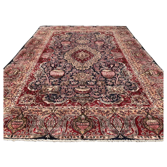 9x12 BLUE ANTIQUE PERSIAN RUG HAND KNOTTED area rugs Iran handmade handknotted handwoven oriental carpet kashmar 9x13 ft