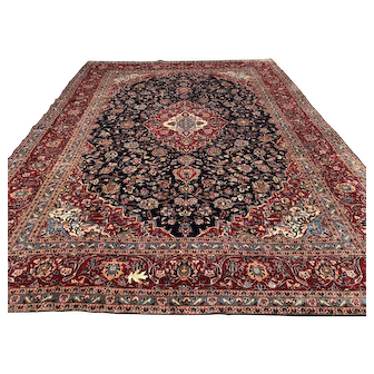 10x14 BLUE ANTIQUE PERSIAN RUG HAND KNOTTED area rugs wool handmade oriental carpet handknotted handwoven kashan 10x13 9x13