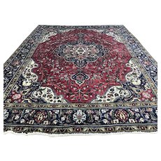 10x13 ANTIQUE PERSIAN RUG RED HAND KNOTTED rugs woven handmade wool made carpet worn oriental tabriz 9x12