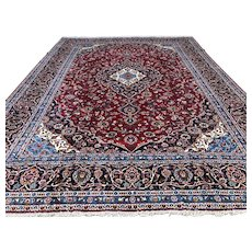 10x14 ANTIQUE PERSIAN RUG HAND KNOTTED RED BLUE Iran woven wool handmade made area rugs oriental carpet kashan 10x13