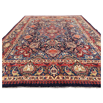 10x13 PERSIAN RUG BLUE HAND KNOTTED IRAN ANTIQUE handmade woven made oriental carpet area rugs kashmar pictorial 9x12 10x14