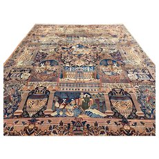 10x13 PERSIAN RUG HAND KNOTTED ANTIQUE IRAN pictorial woven wool made handmade area rugs oriental carpet kashmar vegetable dye 9x12