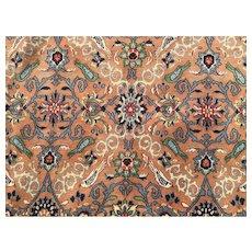 10x13 HAND KNOTTED PERSIAN RUG ANTIQUE IRAN RUGS wool silk carpet woven coral salmon brown handmade nain qom qum 10x14 ft