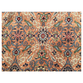 10x13 HAND KNOTTED PERSIAN RUG ANTIQUE IRAN RUGS wool silk carpet woven coral salmon brown handmade nain qom qum 10x14 ft
