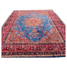 9x12 BLUE PERSIAN RUG HAND KNOTTED IRAN handmade wool antique area rugs oriental woven made carpet vegetable dye 10x12 10x13