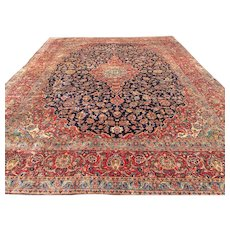 12x16 BLUE PERSIAN RUG HAND KNOTTED WOOL ANTIQUE IRAN handmade oriental area rug woven made carpet palace size 12x17 12x18