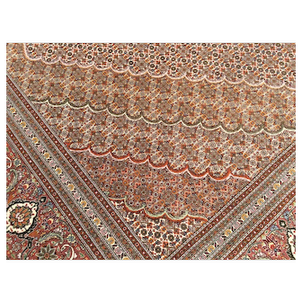 8x12 WOOL SILK PERSIAN RUG MAHI TABRIZ IRAN HAND KNOTTED 8x11 woven made antique vintage oriental handmade area rugs