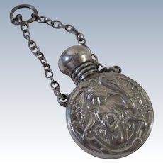 A Finely Decorated Antique Art Nouveau Silver Perfume Bottle : Birmingham 1902