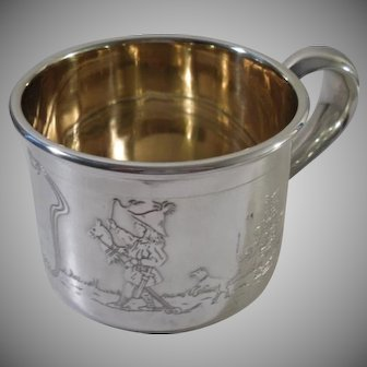 A Rare Antique 'Kate Greenaway' Overlaid Sterling Silver Mug : Connecticut c1895