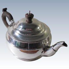 A Very Good Quality Antique Circular Silver Bachelor's Teapot : Birmingham 1915