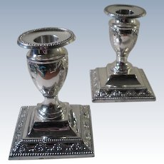A Pair of 'Adams Style' Antique Silver Candlesticks : London 1898