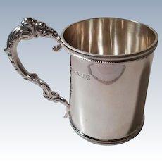 A Good Quality Antique Chawner & Co Silver Mug : London 1877