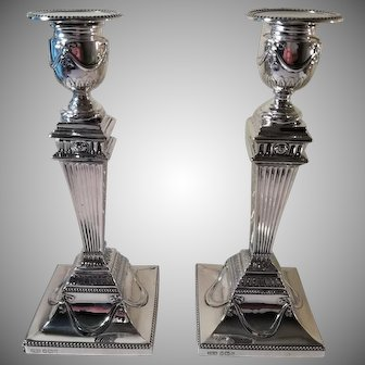 A Pair of 'Adams Style' Antique Silver Candlesticks : Sheffield 1891