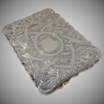 An Ornate Antique 'Hilliard & Thomasan' Silver Card Case : Birmingham 1864