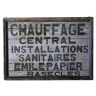Vintage Folk Art Painted Trade Sign - 1930s French Plumber's Sign