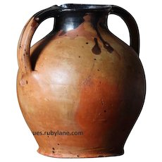 Antique French Earthenware Water Jug Pot -19th Century Cruche