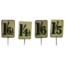 Antique English Tin-Lithographed Grocery Store Price Signs