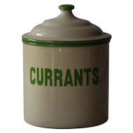 Vintage English Enamelware CURRANTS Kitchen Canister - Graniteware