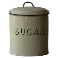 Vintage English Enamelware SUGAR Kitchen Canister - Graniteware #3