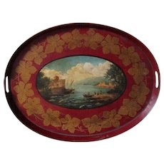 Antique Tole Painted Tray - 18th Century Toleware Tray