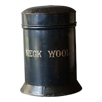 19th Century English Tole Painted Canister NECK WOOL - Antique Tole Tin