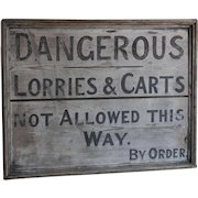 Antique Folk Art Painted Wood Trade Sign