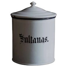 English Enamelware SULTANAS Kitchen Storage Canister - Graniteware
