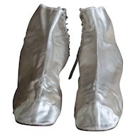 19th Century English Ladies' Silk Adelaide Ankle Boots - Antique Satin Textile Shoes