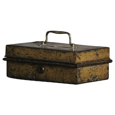 Antique English Toleware Box - Tole Painted Cash Box