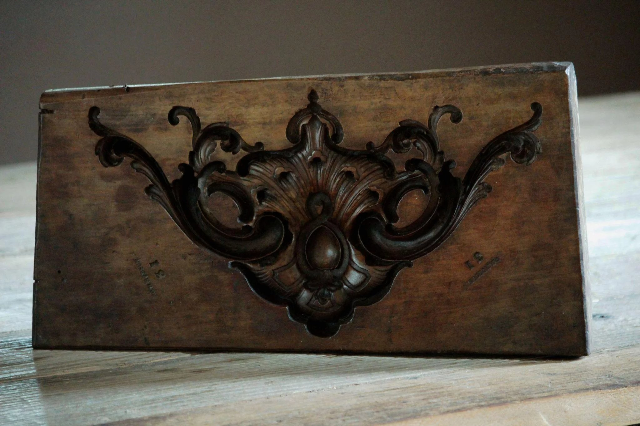 19th century english boxwood carved mold antique wooden mould