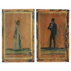 Antique French Oil On Tin Paintings - Mode Francaise- 19th Century French Fashions