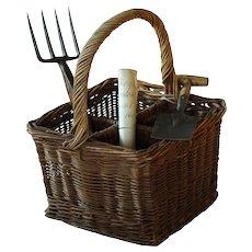 Antique English Wicker Champagne Bottle Carrier Basket