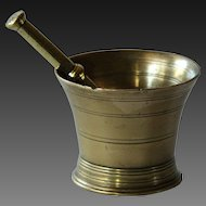 18th Century Antique English Chemist's / Apothecary Brass Mortar and Pestle