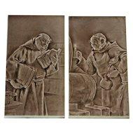 Antique English Craven Dunnill & Co Decorative Tile Panels