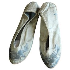 Antique Child's Chinese Silk Embroidered Slippers / Shoes