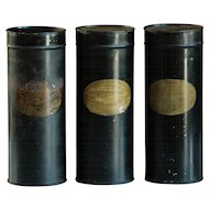 Antique Toleware Garden SEED Storage Tin Canisters