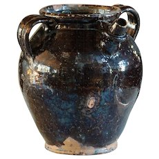 Antique French Glazed Earthenware Water Jug / Pot - 19th Cruche
