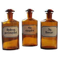 Antique Amber Glass Apothecary Pharmacy Bottles