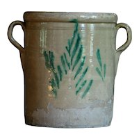 Antique Italian Glazed Terracotta Earthenware Confit Pot - 19th Century Preserve jar