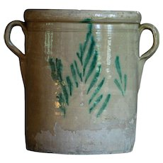 Antique Italian Puglia Glazed Terracotta Earthenware Confit Pot