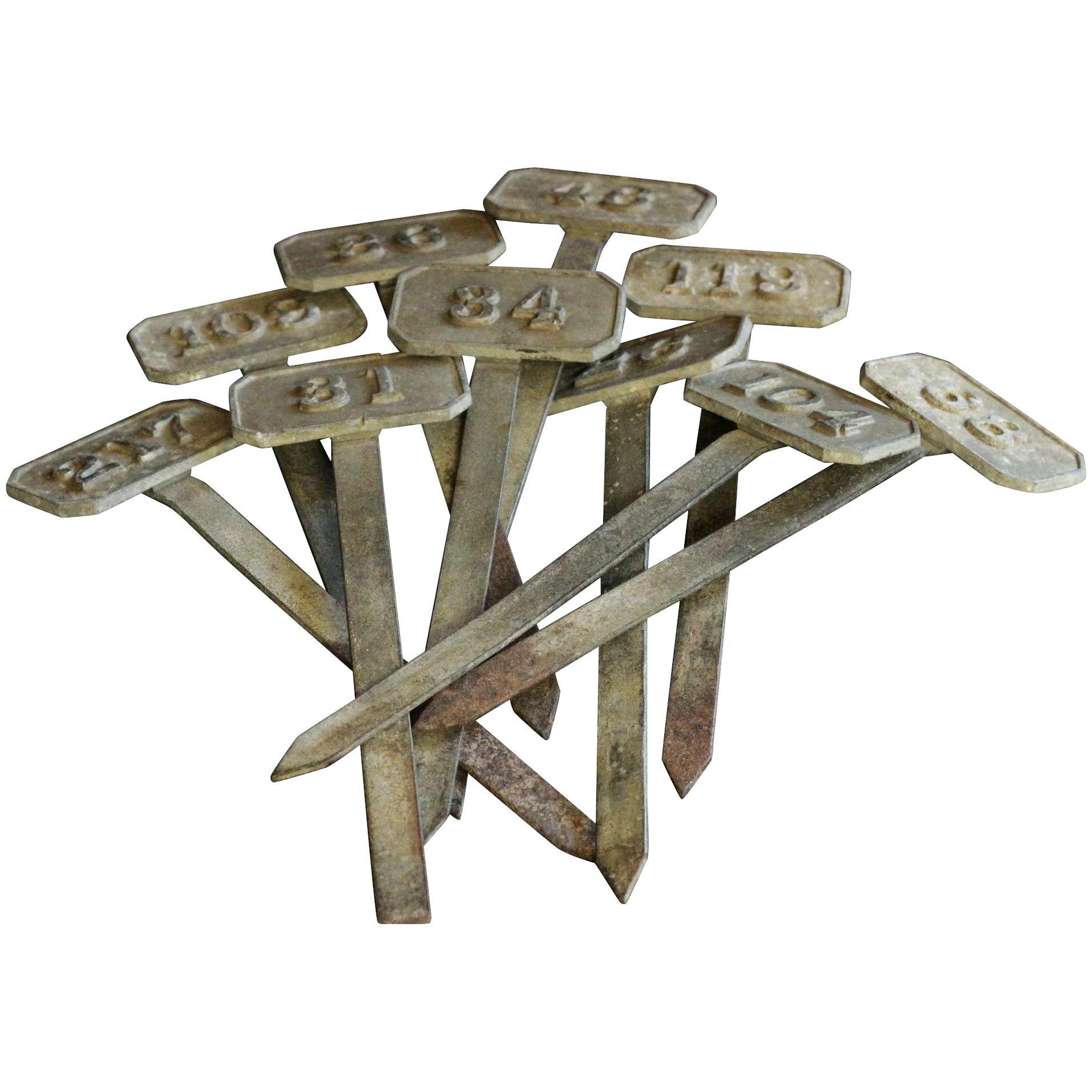 Antique English Zinc Metal Garden Markers / Tallies / Labels. Click To  Expand